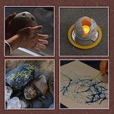 De vier elementen aarde, water,lucht en vuur (schilderen op doekà
