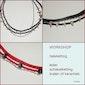 workshop halsketting met leder, schakeltjes en keramiek- of glaskralen