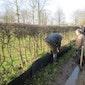 handje helpen met de opbouw van de paddenschermen!