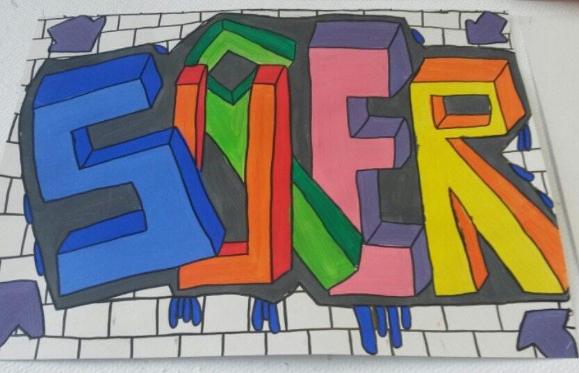 graffiti met potlood en stift: 3d woorden tekenen - vm | sint